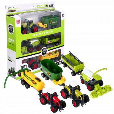 2 x traktorių ir 3 x priekabų ir kombaino rinkinys