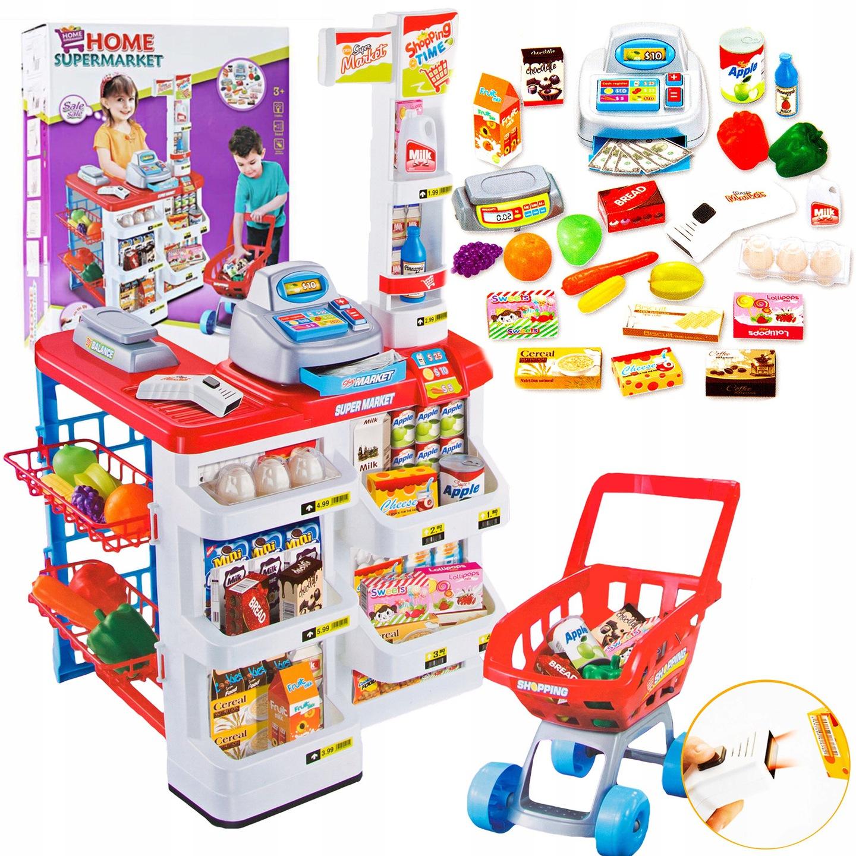 Žaislinė parduotuvė su vežimėliu ir priedais