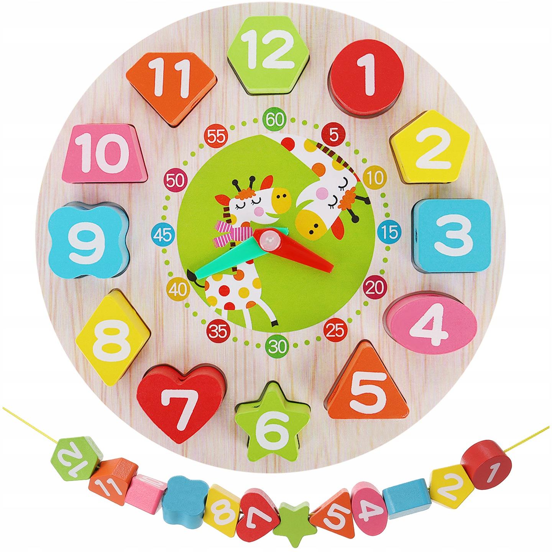 Vaikiškas medinis laikrodis su kaladėlėmis