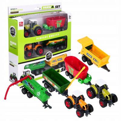 Žaislinių 2 x traktorių ir 4 x priekabų rinkinys